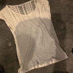 Lace grey and white shirt!